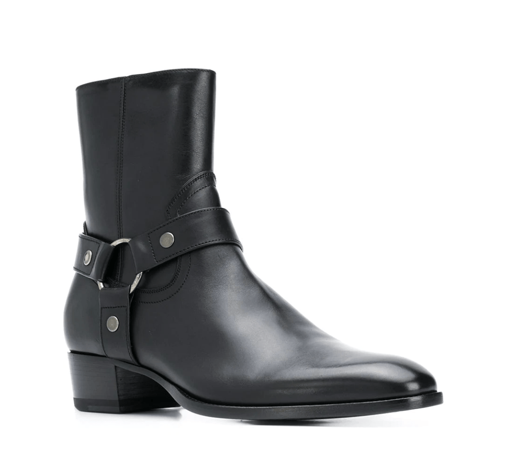 SAINT LAURENT Bottines à petit talon noires Boots SAINT LAURENT  (5780185776293)