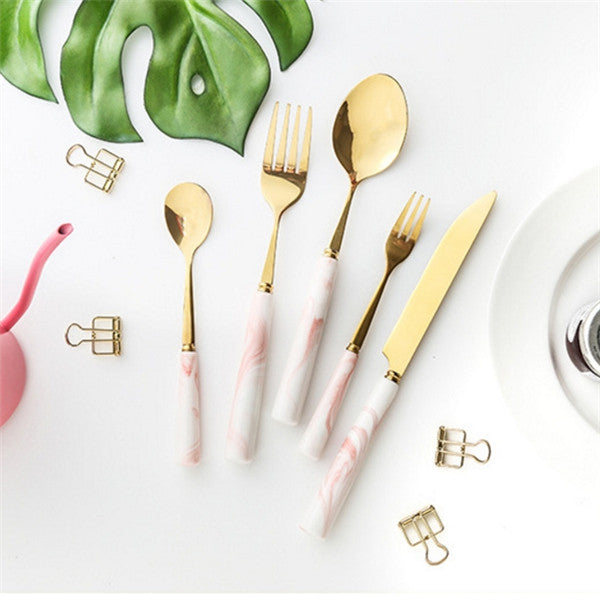 Marble Handle Cutlery (5 piece set) - Ellie J Shoppe