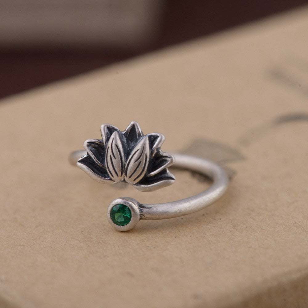Vintage Lotus Flower Ring - Ellie J Shoppe