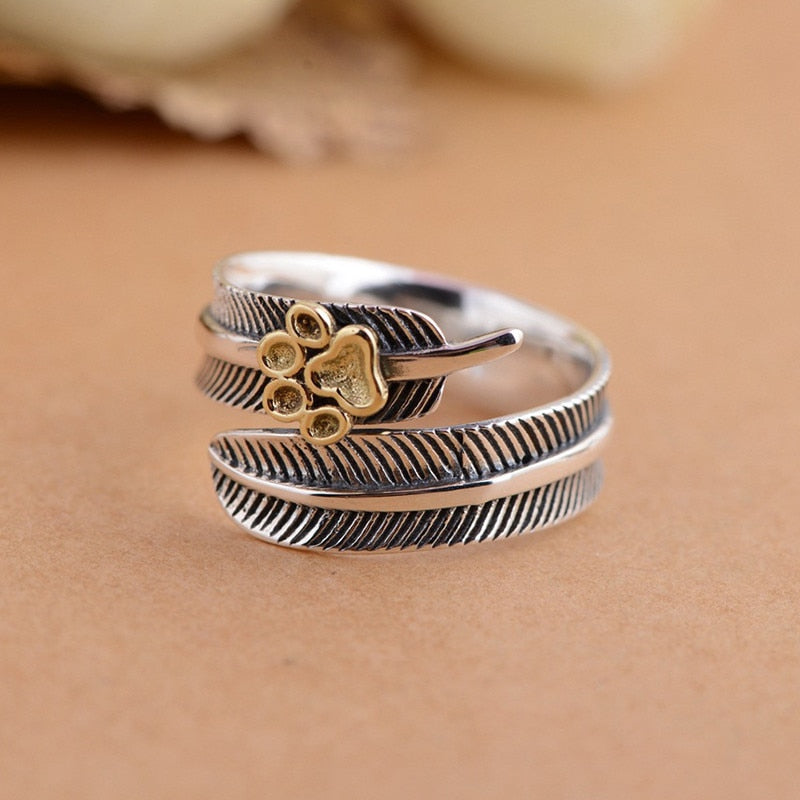 Vintage Feather & Dog Paw Print Ring