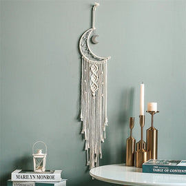 Hanging Macrame Moon Wall Decor