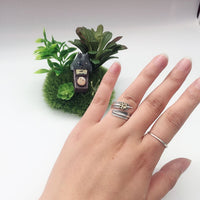 Vintage Feather & Dog Paw Print Ring - Ellie J Shoppe