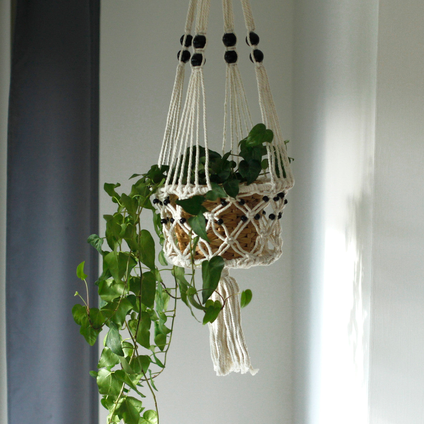 Macrame Pot Holder - Large Single Beaded - Ellie J Shoppe