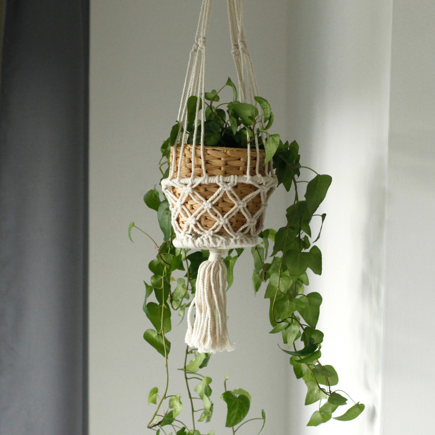 Macrame Pot Holder - Single Small Pot - Ellie J Shoppe
