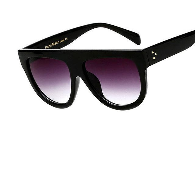 Flat Top Thick Frame Oversized Sunglasses - Ellie J Shoppe