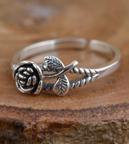 Vintage Single Stem Rose Ring - Ellie J Shoppe