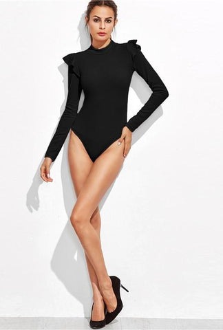 Ruffle Mock Neck Bodysuit - Black - Ellie J Shoppe