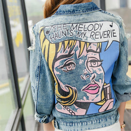 Back Graphic Denim Jacket - Ellie J Shoppe