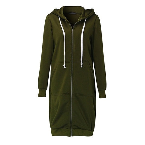 Extra Long Zip Up Hoodie - Ellie J Shoppe