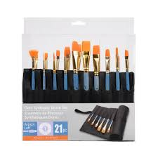 Gold Synthetic Bristle Paintbrush Set