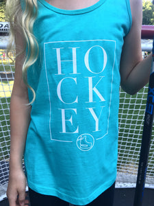 teal racer back tank with hockey written in white