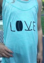 Teal youth tank with LOVE spelled out in hockey sticks and a puck
