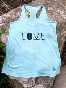 Youth Teal racer back athletic tank with LOVE written in hockey sticks and a puck