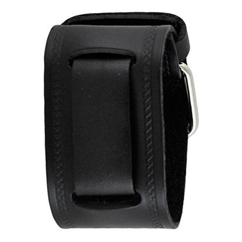 Black Embossed Strip Junior Size Leather Watch Cuff Band 20mm GHST