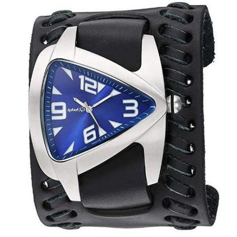 DBT011DL Nemesis Navy Blue Oversized Teardrop Watch with Black Wide Weaved Vintage Style Leather Cuff Band