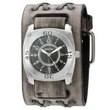 Black Mix & Match Men's Watch with Faded Black Wide Double X Leather Cuff Band VDXB012K