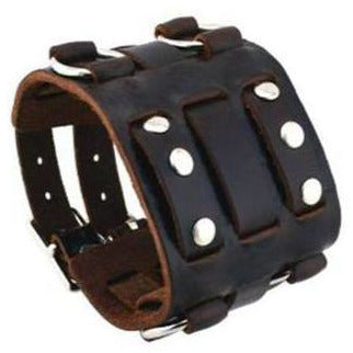 Dark Brown Wide Detailed Leather Cuff Band DBWB