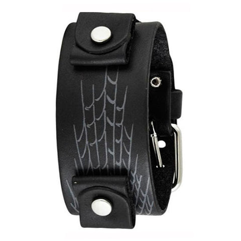Black Spider Web Leather Cuff Watch Band 22mm SPW
