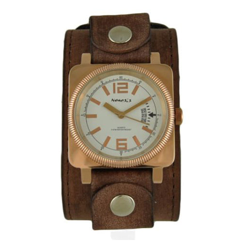 White Signature Rose Tone Watch with Faded Brown XL Stitch Leather Cuff Band FBLBB062S