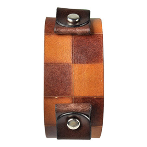 Brown Checkered Leather Cuff Band CHLB