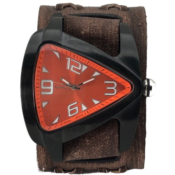 VBDX061N Nemesis stainless steel IP black teardrop watch with brown boule x leather cuff band
