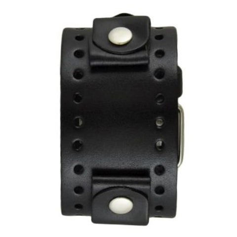 Black XL Basic Jumbo Leather Watch Cuff Band JB