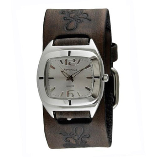 Silver Retro Watch with Faded Dark Brown Embossed Flower Design Leather Cuff Band DBVFB090S