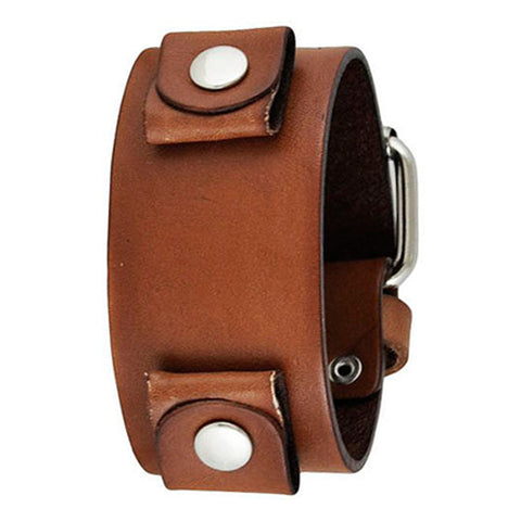 Basic Junior Size Brown Leather Cuff Watch Band 20mm BGB