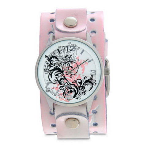 PinkBlack Plant Art Watch with Pink Leather Cuff Band PTHR827P