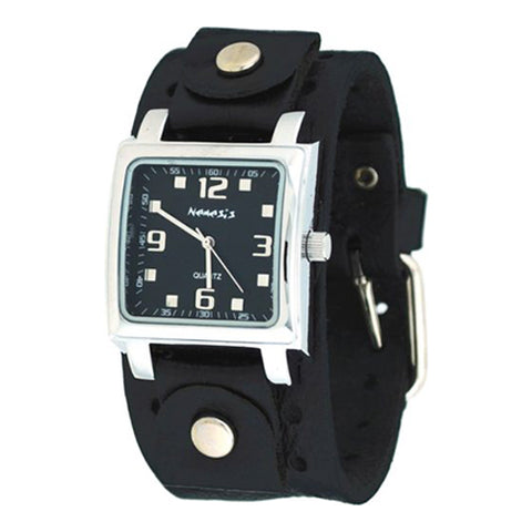 Black Lite SQ Watch with Black Leather Cuff Band 516BN-K
