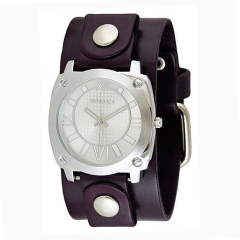 Silver Ladies Roman Numerals Watch with Junior Size Purple Leather Cuff Band PUGB066S