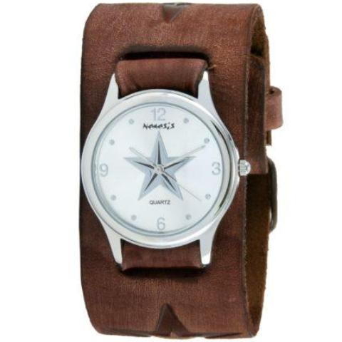 Silver Vintage Punk Rock Star Watch with Faded Brown Embossed Star Leather Cuff Band 355BFST-S
