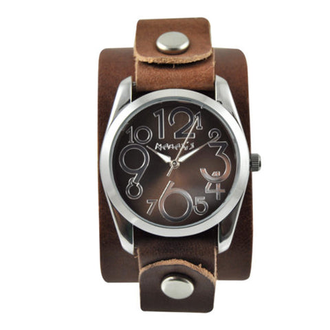 Brown ShowGirl Watch with Junior Size Basic Brown Leather Cuff Band BGB109B