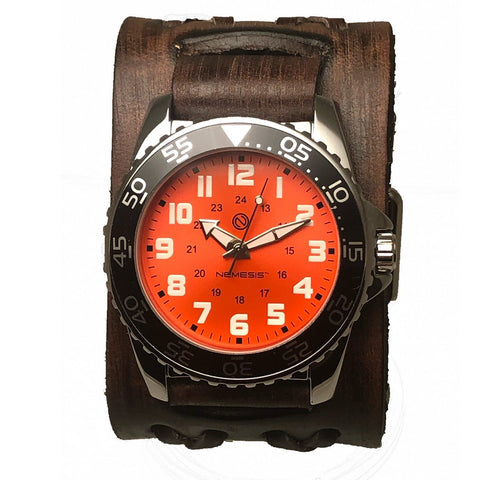 BVdx257N Nemesis luminous diving case watch Orange color face With brown vintage double x band