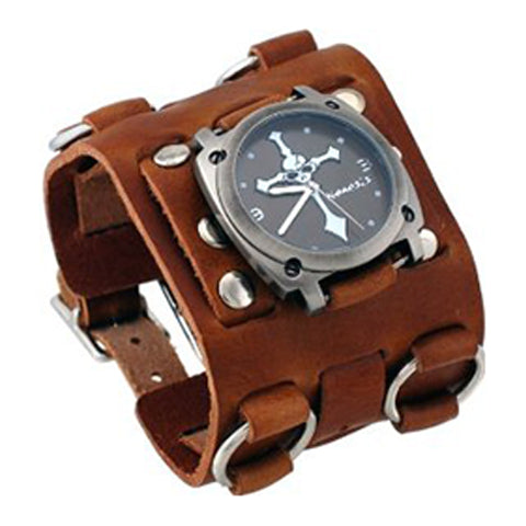Black Skull Cross Watch with Brown Wide Detail Ring Leather Cuff Band BWB927K