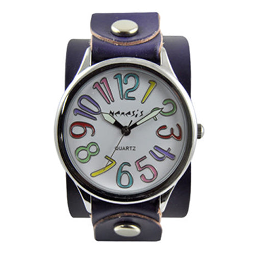 White Multi-Color Numbers Always Summer Watch with Junior Purple Leather Cuff Band PUGB108M