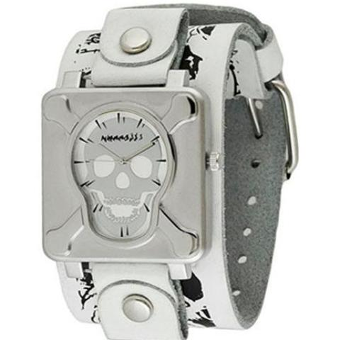 Silver Cross Bones Skull Watch with WhiteBlack Large Multi Skull Leather Cuff Band LWMS930S