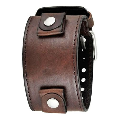 All-Dark-Brown-XL-Stitched-Leather-Cuff-Watch