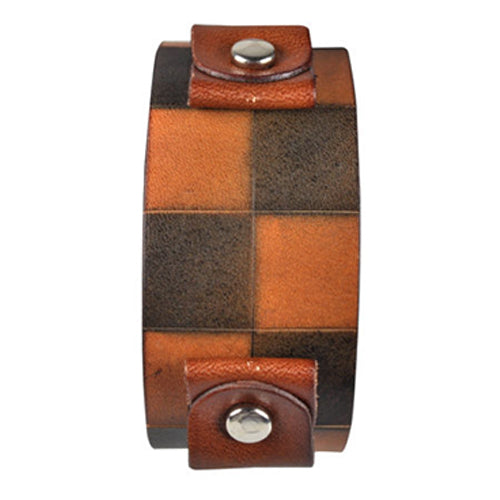 Dark Brown Checkered Leather Cuff Band CHDB