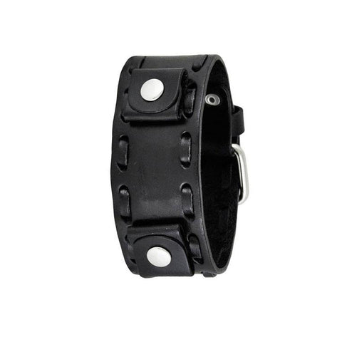Black Weaved Leather Cuff Watch Band 22mm WTK
