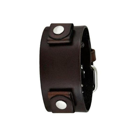 Basic Dark Brown Leather Cuff Watch Band 20mm DBB