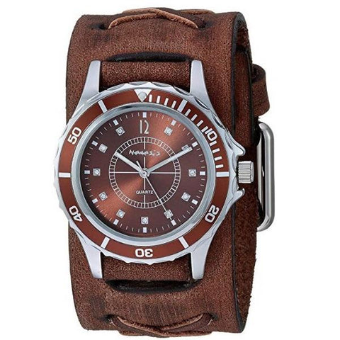 Brown Bella Ladies Watch with Faded X Leather Cuff Band BFXB092B