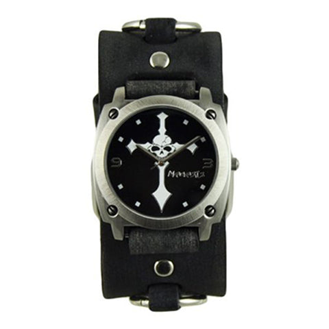 Black Skull Cross Watch with Faded Black Ring Leather Cuff Band DFRB927K