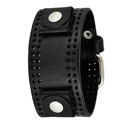 Black Perforated Leather Cuff Watch Band 20mm PLK