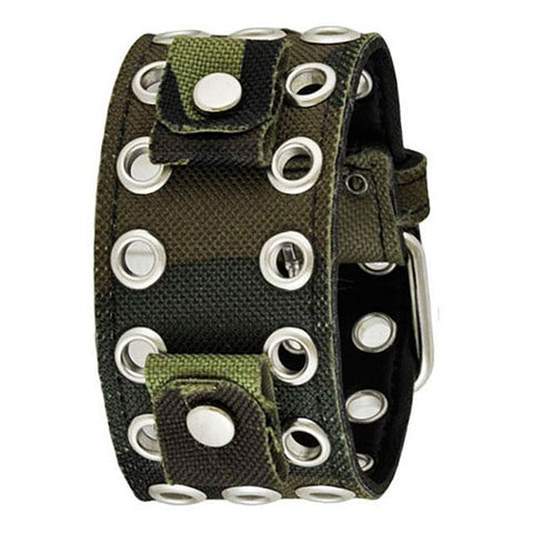 Green Eyelet Camouflauge CanvasLeather Cuff Watch Band 20mm AEB