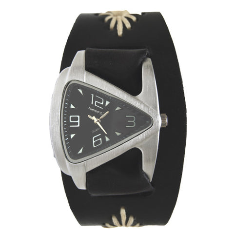 Small Black Ladies Teardrop Watch with Diamond Stitched Leather Cuff Band, BF024K-front