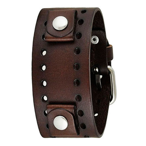 Basic Dark Brown Leather Cuff Watch Band 20mm DBN