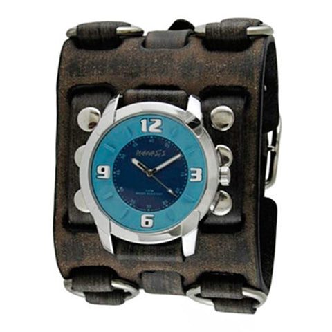 Blue Embossed Watch with Faded Black Wide Detail Leather Cuff Band FWB106L