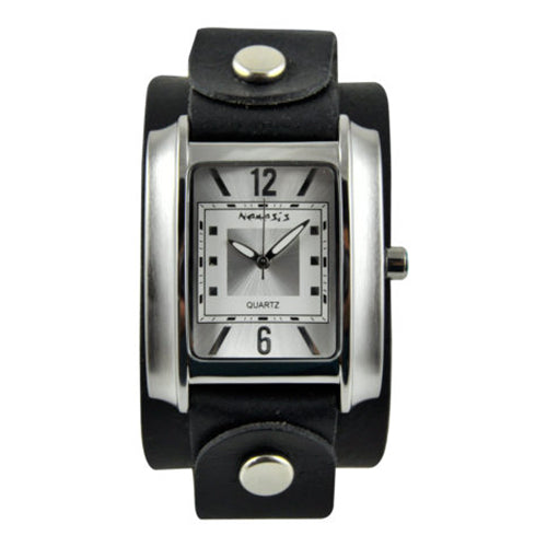 Vintage SilverWhite Square in Square Watch with Black Junior Size Leather Cuff Band GB013S