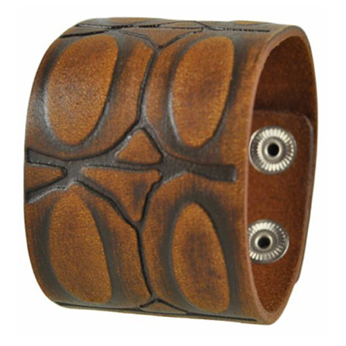 Brushed Brown Turtle Shell Engraved Design Leather Bracelet Cuff Band 506B